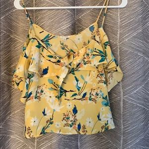 Yellow floral of the shoulder top